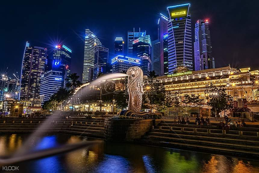 night view of merlion park
